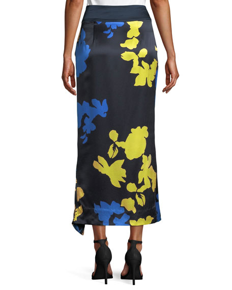 Samra Floral Satin High-Waist Skirt