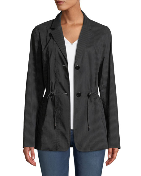 Lafayette 148 New York Porsha Sander Stripe Jacket w/ Adjustable Cord