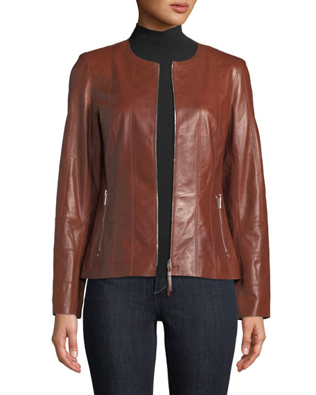 Lafayette 148 New York Courtney Glazed Weightless Leather