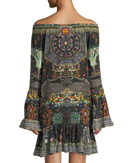 Embellished Bell-Sleeve A-Line Frill Mini Dress