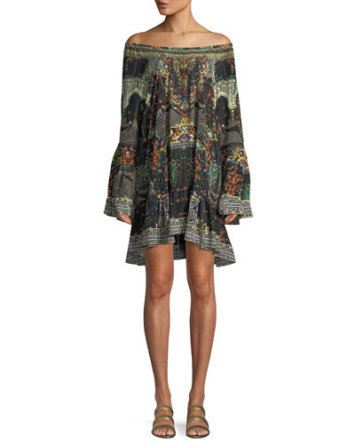 Embellished Bell-Sleeve A-Line Frill Mini Dress