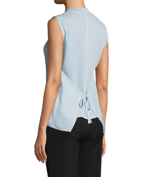 Ribbed-Trim Tie-Back Silk Shell