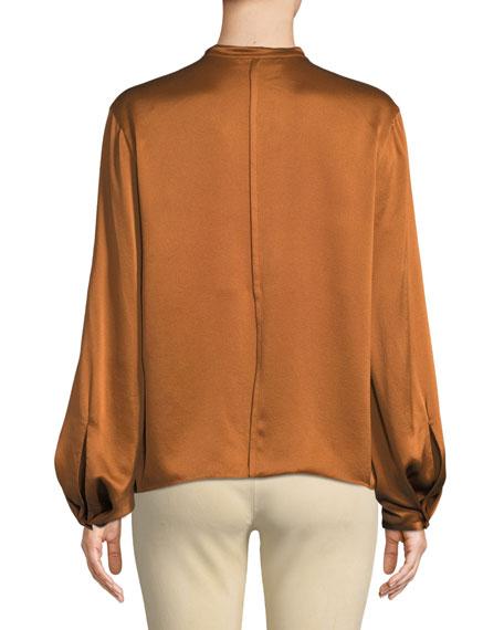 Silk Tie-Neck Long-Sleeve Popover Blouse