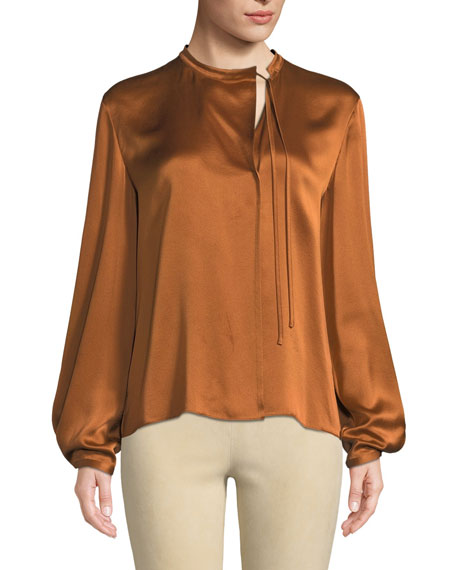 Silk Tie-Neck Long-Sleeve Popover Blouse