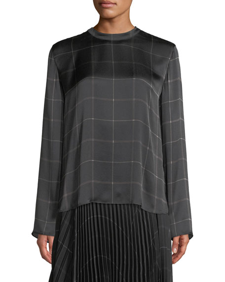 Draped Plaid Tie-Back Silk Blouse