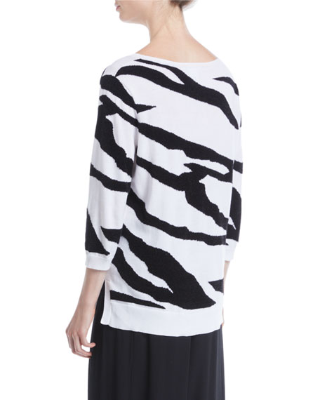 3/4-Sleeve Zebra Pullover Sweater, Plus Size