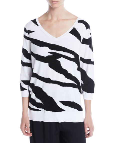 Joan Vass 3/4-Sleeve Zebra Pullover Sweater, Plus Size