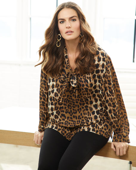 Animal-Print Tie-Neck Blouse, Plus Size