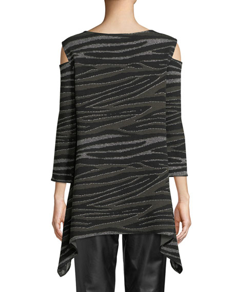 Howl At The Moon Cold-Shoulder Metallic Textured-Knit Tunic, Plus Size