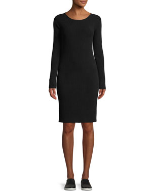 a4bb586a6c9 Vince Ribbed Merino Wool Scoop-Neck Dress