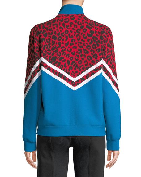 Colorblock Cheetah Zip-Front Jacket