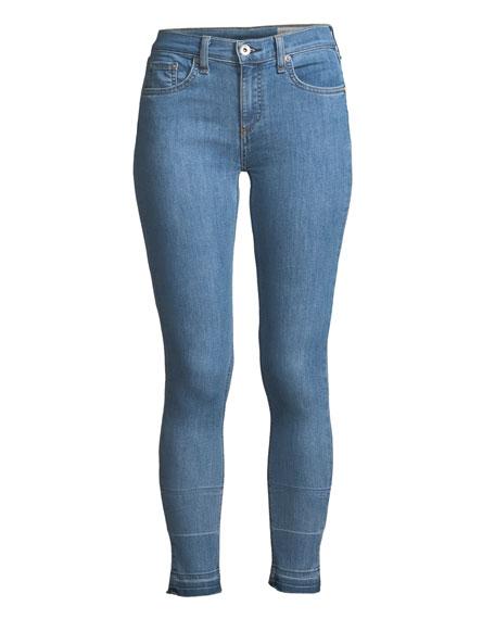 Cropped Metallic-Hem Skinny Jeans