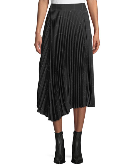 Pleated Draped Plaid Midi Skirt