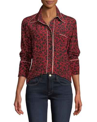 Leopard-Print Silk Button-Front Blouse
