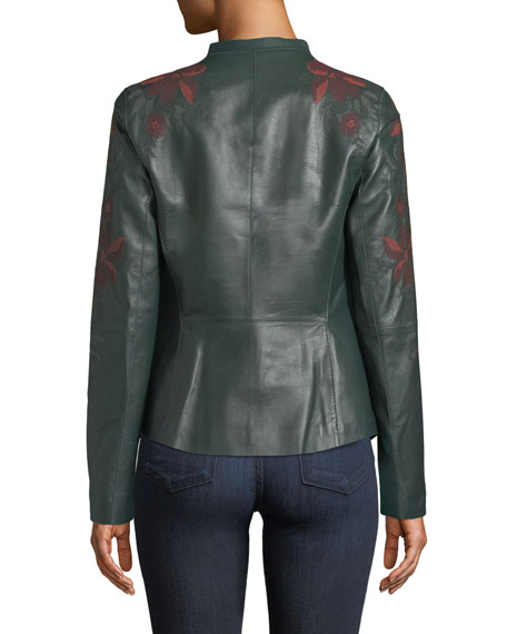 Lafayette 148 New York Aimes Zip-Front Floral-Embroidered Lambskin Leather Jacket