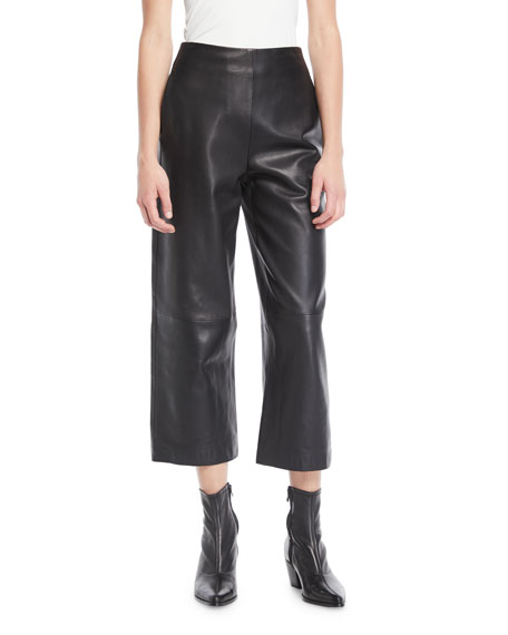 Vince High-Rise Cropped Leather Culotte Pants
