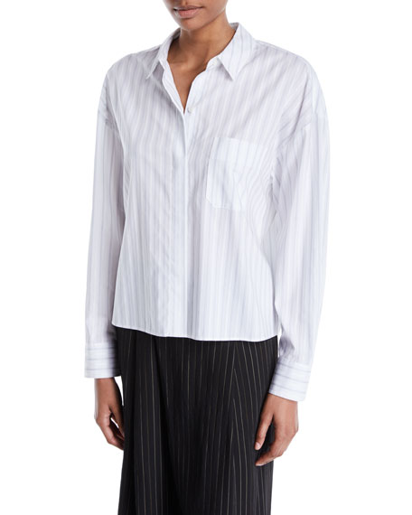 Vince Boxy Pinstripe Button-Front Shirt