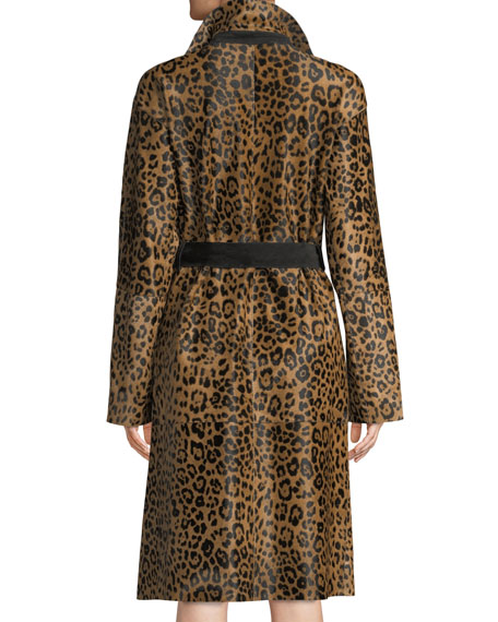 Kalena Leopard-Print Calf Hair Coat w/ Suede Combo