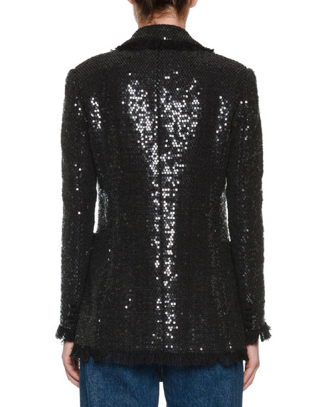 MSGM Sequin Double-Breasted Blazer w/ Fringe