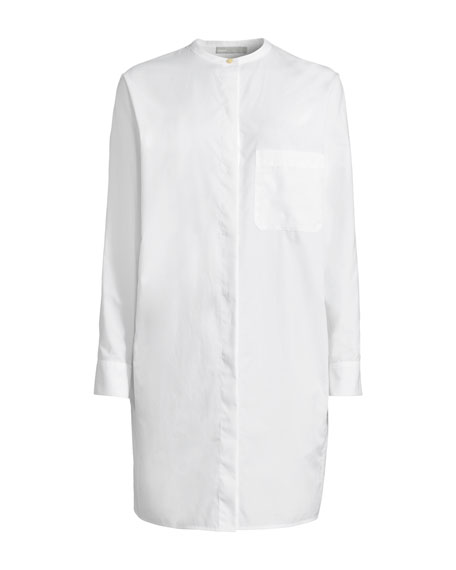Button-Front Cotton Long Tunic