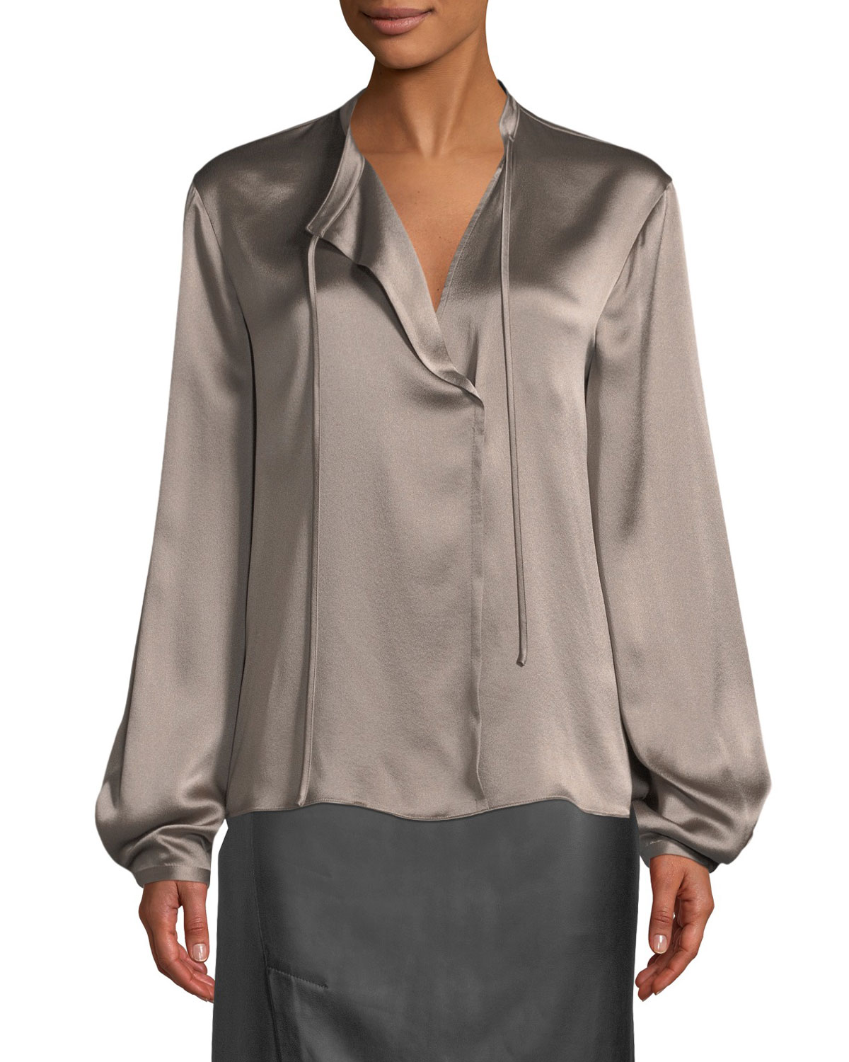 bd23c2fbaee420 Vince Silk Tie-Neck Long-Sleeve Popover Blouse and Matching Items ...
