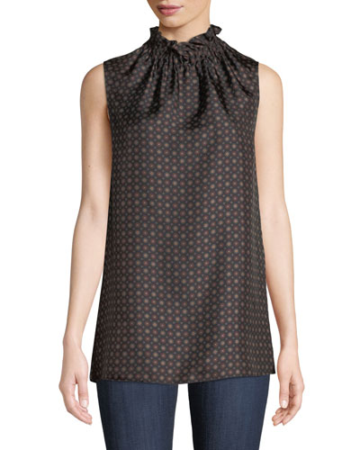 Percy Ruffled-Neck Sleeveless Foulard Silk Blouse