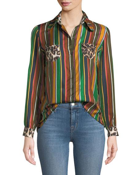 Twiggy Striped Silk Top w/ Contrast Pockets