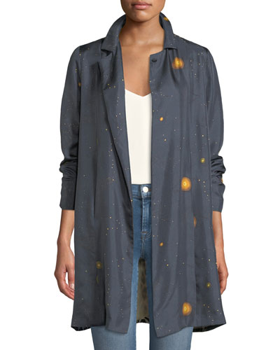 Paris Dot-Print Silk Jacket with Contrast Back