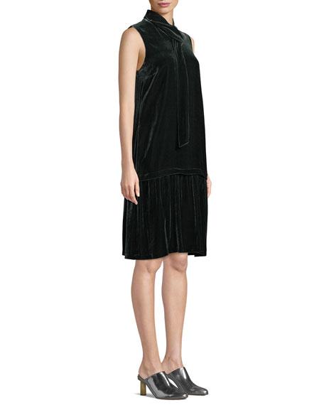 Lafayette 148 New York Abbie Tie-Neck Sleeveless Velvet A-Line Dress