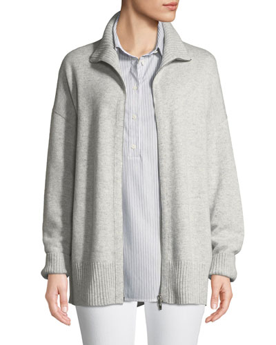 Zip-Front Relaxed Cashmere Cardigan Jacket