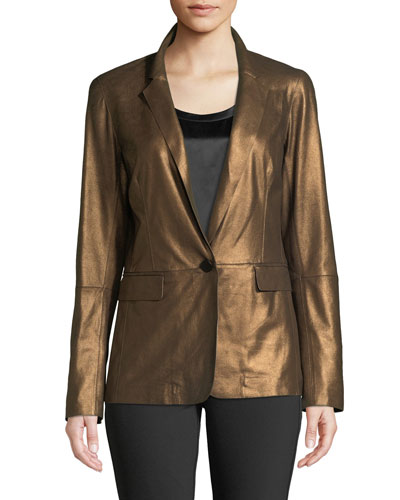 Lyndon Misted Metallic Suede Blazer Jacket