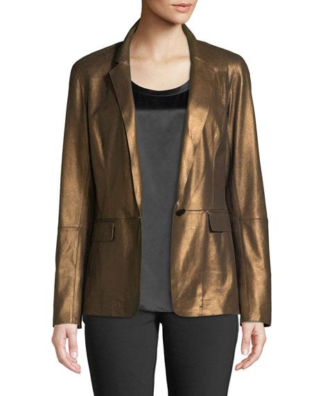Lyndon Misted Metallic Suede Blazer Jacket