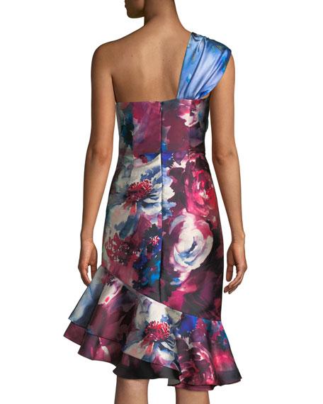 David Meister Floral-Print One-Shoulder Cocktail Dress