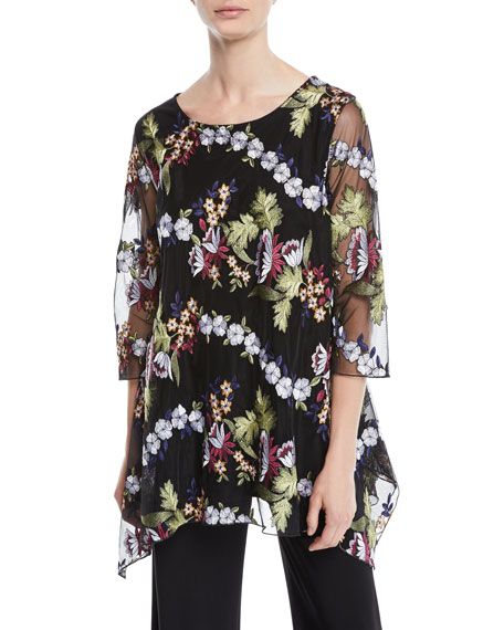 Caroline Rose 3/4-Sleeve Floral-Embroidered Mesh Lined Tunic