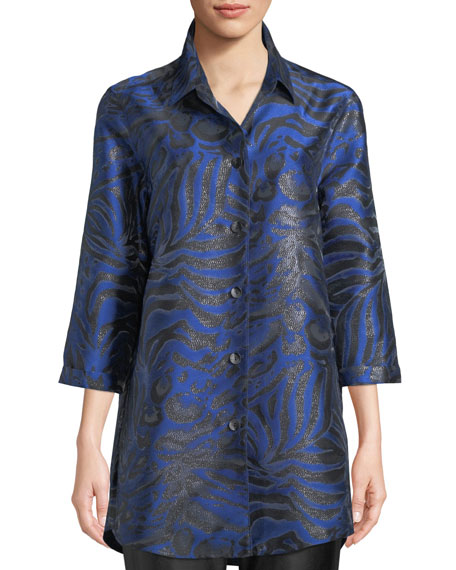 3/4-Sleeve Button-Front Shimmering Animal-Jacquard Boyfriend Shirt, Plus Size