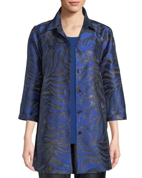 Petite 3/4-Sleeve Button-Front Shimmering Animal-Jacquard Boyfriend Shirt