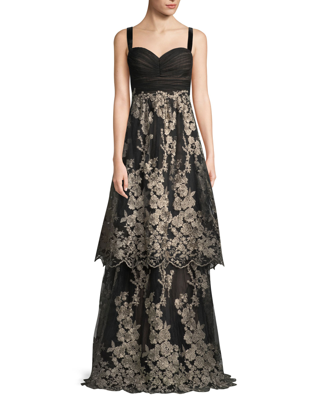 0dae32044bcb David Meister Sleeveless Tulle Gown w/ Metallic Embroidered Skirt ...