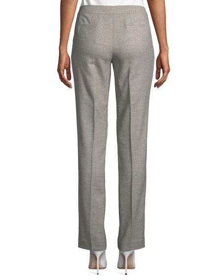 Lafayette 148 New York Stardust Wool Suiting Straight-Leg Pants