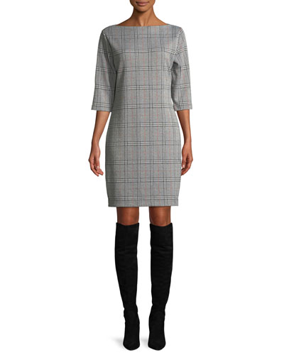 High Boat-Neck 3/4-Sleeve Stretch-Plaid Sheath Dress, Plus Size