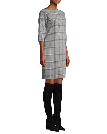 High Boat-Neck 3/4-Sleeve Stretch-Plaid Sheath Dress