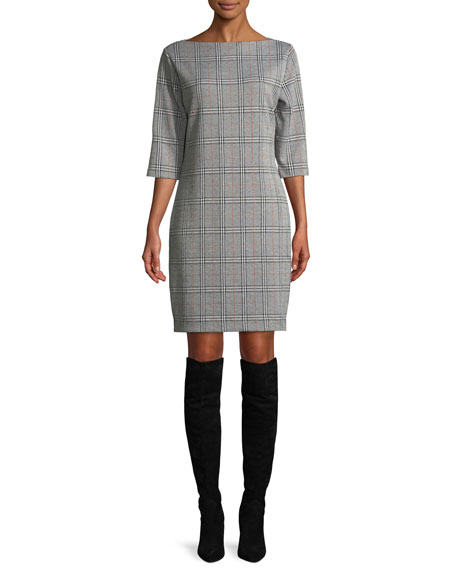 Joan Vass High Boat-Neck 3/4-Sleeve Stretch-Plaid Sheath Dress