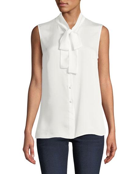 Misook Plus Size Scarf Tie-Neck Sleeveless Button-Front Blouse