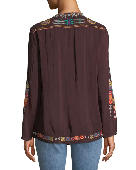 Free Spirit Embroidered Georgette Blouse, Plus Size