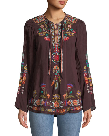 Johnny Was Free Spirit Embroidered Georgette Blouse, Plus