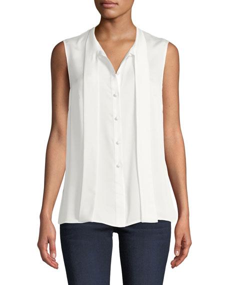 Misook Petite Scarf Tie-Neck Sleeveless Button-Front Blouse