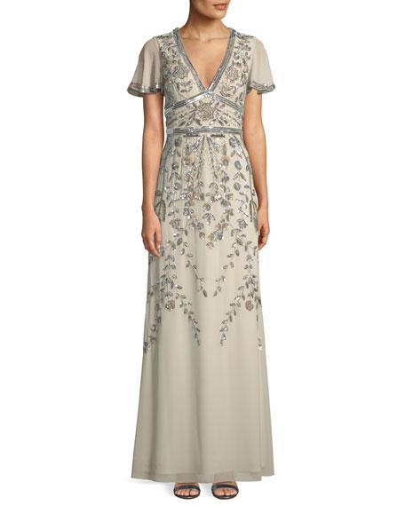 Aidan Mattox Short-Sleeve V-Neck Beaded Gown