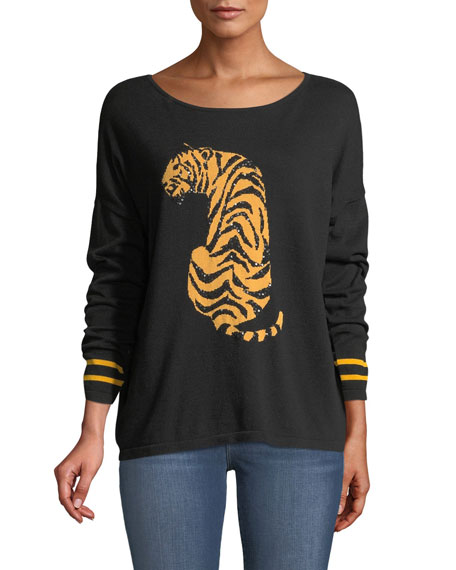 Boat-Neck Long-Sleeve Sequin-Striped Tiger-Intarsia Sweater