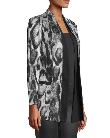 Snow Leopard Printed Jacket w/ Shawl Front, Plus Size