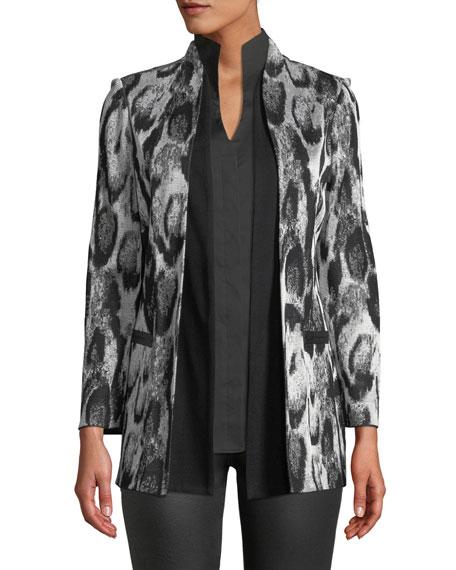 Misook Snow Leopard Printed Jacket w/ Shawl Front,