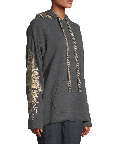 Ollena Embroidered Pullover Hoodie  Sweatshirt, Plus Size